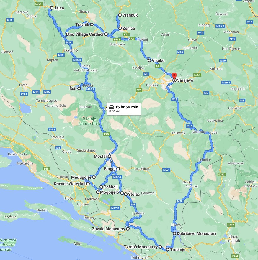 Tour map for All seasons 8 days Bosnia discovery tour from Sarajevo. Monterrasol Travel private tour by car. Bosnia travel off the beaten path.