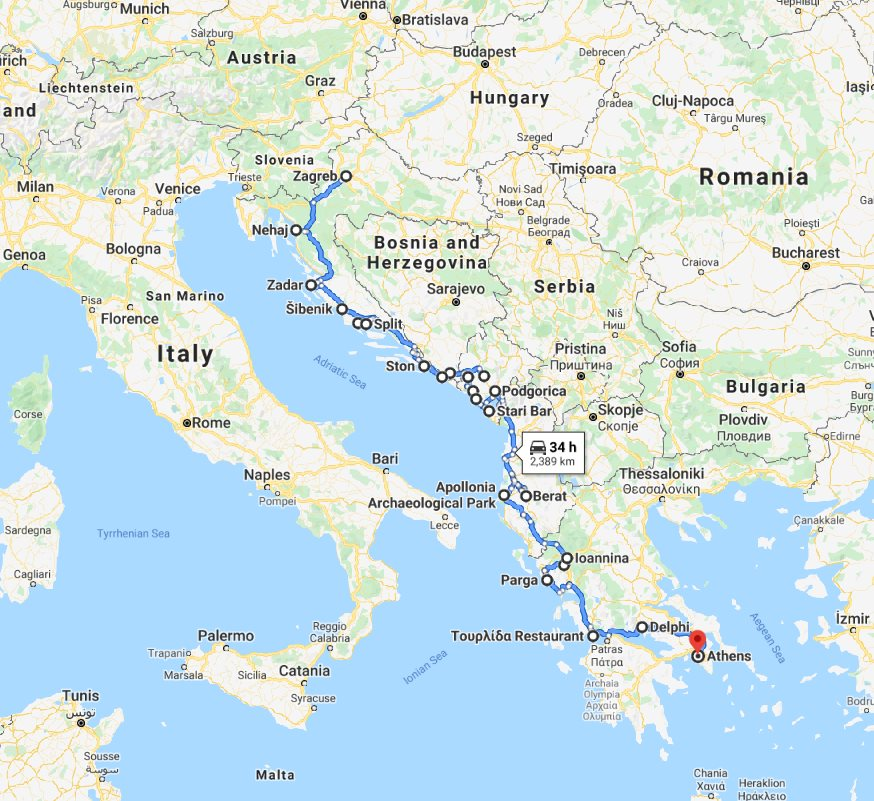 Tour map for Explore Croatia Bosnia Montenegro Albania Greece by cultural tour 21 days. Monterrasol Travel private minivan tour. Balkans roadtrip from Zagreb to Athens. Old towns, fortresses, monasteries, UNESCO sites.
