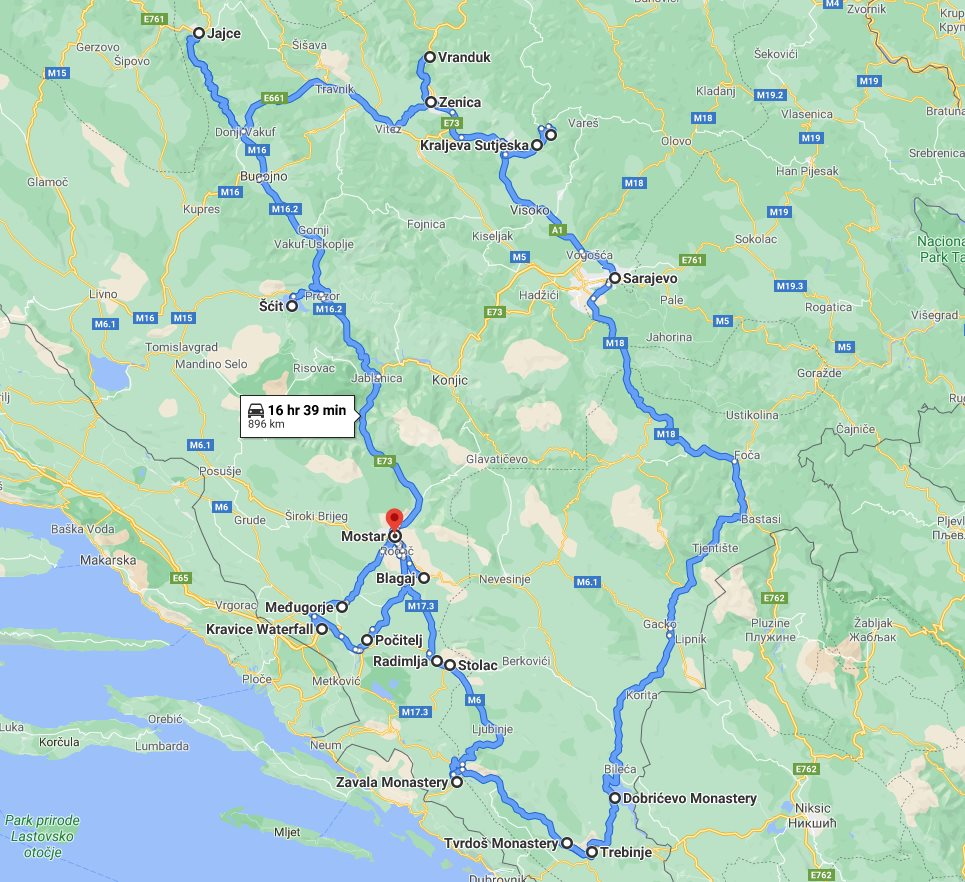 Tour map for All seasons 9 days Bosnia discovery non-touristy tour from Mostar. Monterrasol Travel private tour by car. Off the beaten path travel to Medieval land of Bosnia.