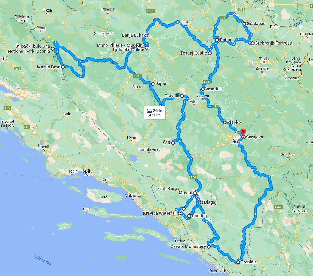 Tour map for All seasons 15 days Bosnia discovery non-touristy cultural tour from Sarajevo. Private tour in minivan by Monterrasol Travel. Off the beaten path travel to Medieval land of Bosnia.