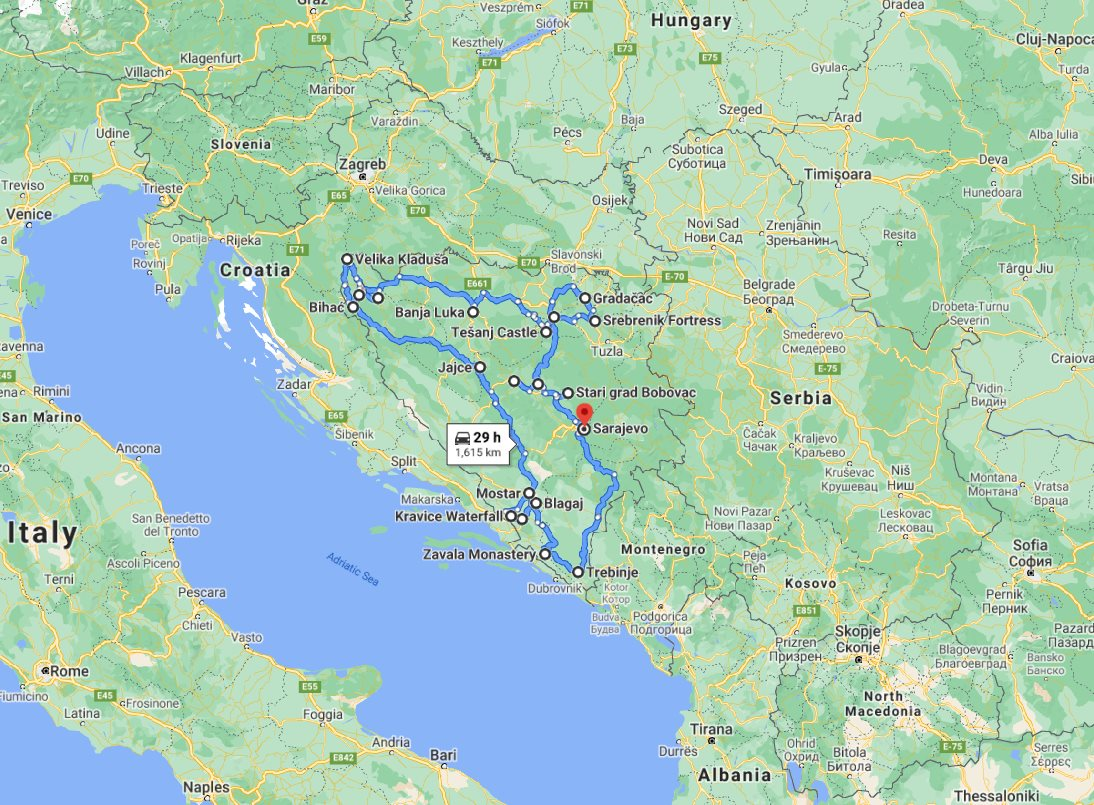 Tour map for Bosnia medieval land discovery 17 days all seasons off the beaten path tour. Private tour in minivan from Monterrasol Travel. Non-touristy medieval towns, castles, monasteries, UNESCO places cultural tour from Sarajevo.