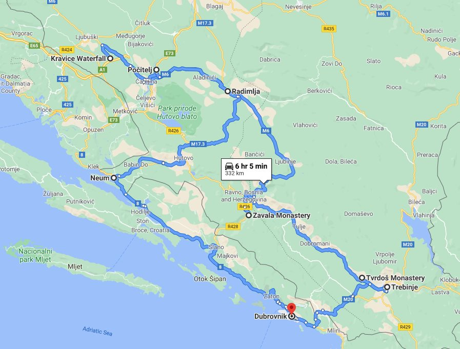 Tour map for Cultural + wine 2 days Bosnia tour from Dubrovnik. Monterrasol Travel minivan private tour. Discover Bosnia and taste wonderful Herzegovina wines.