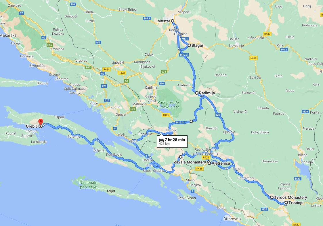 Tour map for Cultural + wine tasting 2 days Bosnia tour from Korcula. Monterrasol Travel car private tour. Discover Bosnia and taste wonderful Herzegovina wines.