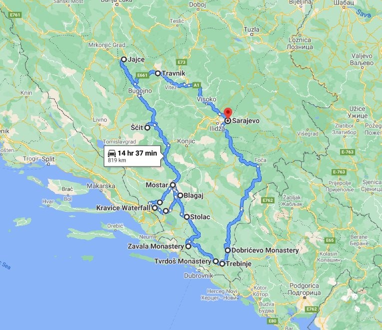 Tour map for All seasons Bosnia discovery 6 days tour from Sarajevo. Monterrasol Travel private tour by minivan. Bosnia as example of off the beaten path travel.