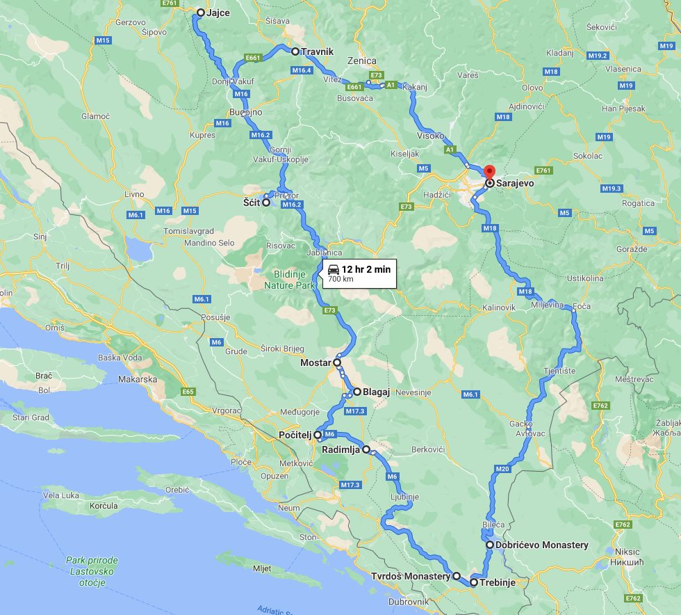 Tour map for All seasons discovery Bosnia 4 days tour from Sarajevo. Private tour from Monterrasol Travel in minivan. Off the beaten path travel in Bosnia.