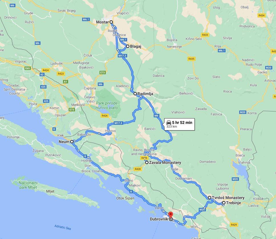 Tour map for #210 All seasons 2 days Bosnia discovery tour from Dubrovnik. Private tour with minivan by Monterrasol Travel. Trebinje, Tvrdos monastery, Blagaj, Mostar.