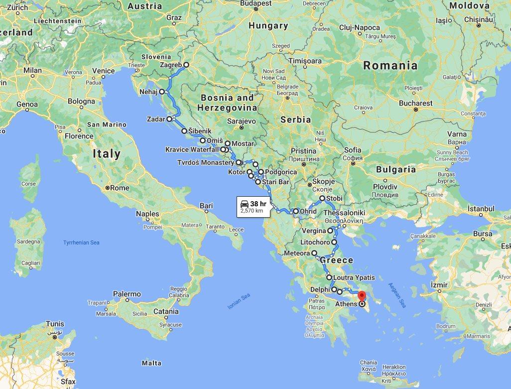 Tour map for Explore Croatia Bosnia Montenegro Albania Macedonia Greece by cultural tour 26 days. Monterrasol Travel minivan private tour. Balkans roadtrip from Zagreb to Athens via UNESCO sites, medieval towns, fortresses, monasteries.