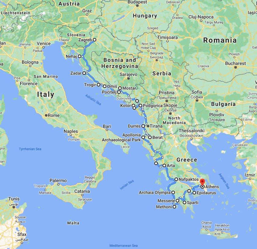 Tour map for #216 Explore Croatia Bosnia Montenegro Albania Greece by cultural tour 32 days. Monterrasol Travel private minivan tour. Balkans roadtrip from Zagreb to Athens. Old towns, fortresses, monasteries, UNESCO sites.