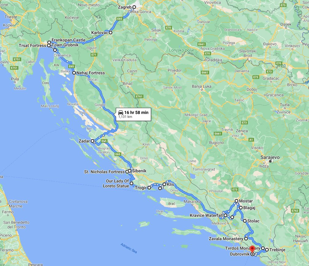 Tour map for #221 All seasons 11 days Croatia and Bosnia UNESCO sites tour from Zagreb to Dubrovnik. Monterrasol Travel private car tour. The most important UNESCO towns of Dalmatian coast and Bosnia.