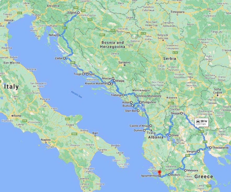 Tour map for Discover Croatia Bosnia Montenegro Albania Macedonia Greece in 23 days tour. Private tour in minivan from Monterrasol Travel. UNESCO sites, old towns, monasteries and fortresses on Balkans roadtrip from Zagreb to Igoumenitsa.
