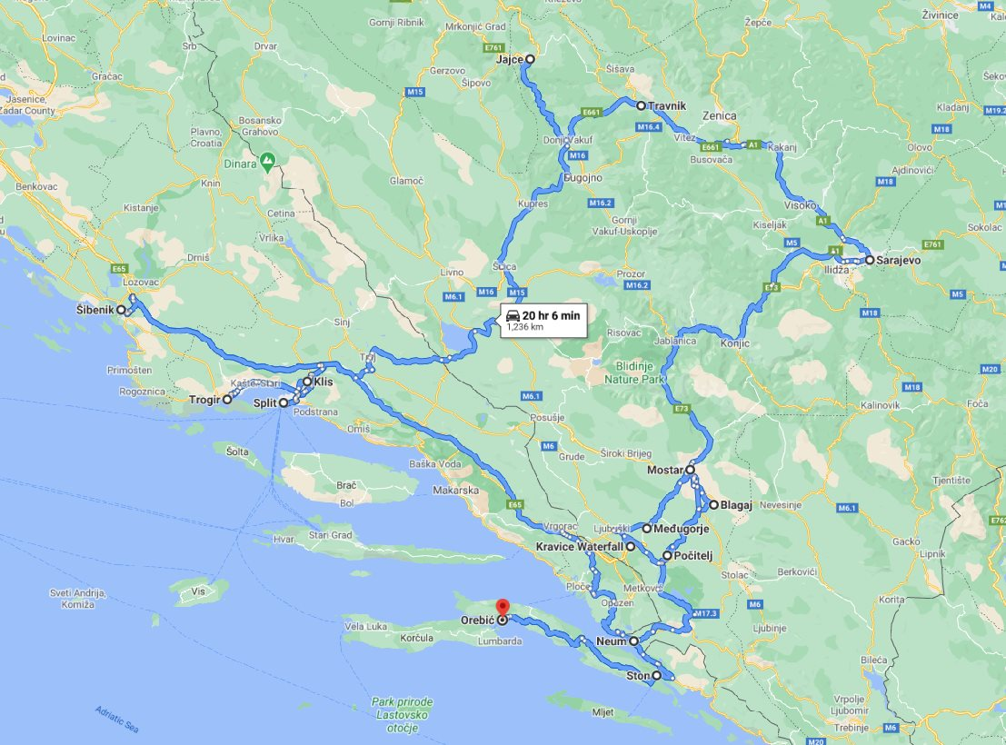Tour map for All seasons 9 days tour to discover Bosnia and visit Croatian Dalmatia from Korcula. Private tour by car from Monterrasol Travel. Bosnia main attractions + famous UNESCO sites Split, Sibenik and Trogir in Croatia.