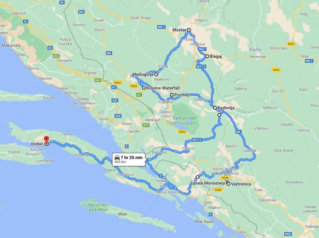Tour map for Cultural + wine tasting 2 days all seasons Bosnia tour from Korcula. Monterrasol Travel tour in private minivan. Visit Mostar, Medjugorje, Blagaj, Pocitelj, Kravica.