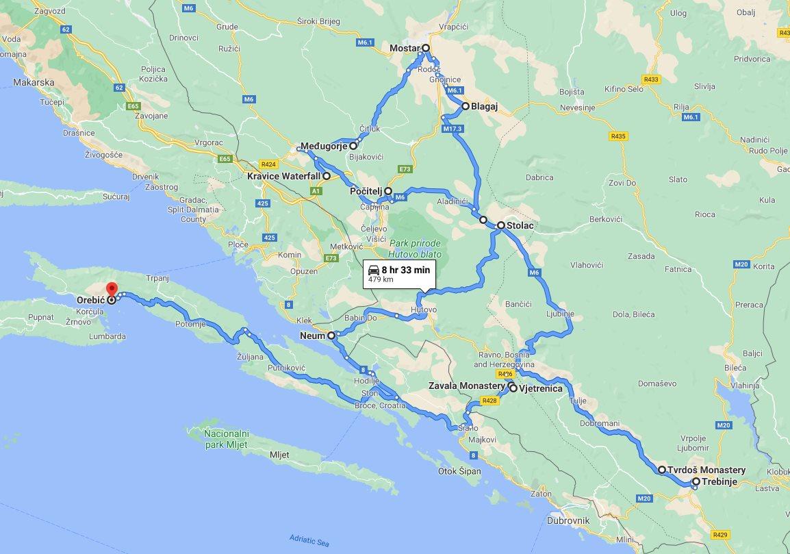 Tour map for #236 All seasons best of Bosnia 3 days discovery tour from Korcula. Monterrasol Travel tour with private minivan. Mostar, Pocitelj, Stolac, Tvrdos, Trebinje, Kravice waterfalls.