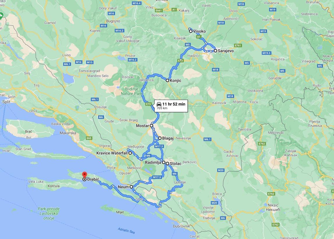 Tour map for All seasons best of Bosnia 3 days discovery tour from Korcula. Monterrasol Travel minivan private tour. Mostar, Blagaj, Sarajevo, Kravice waterfalls, Bosnian Pyramid.