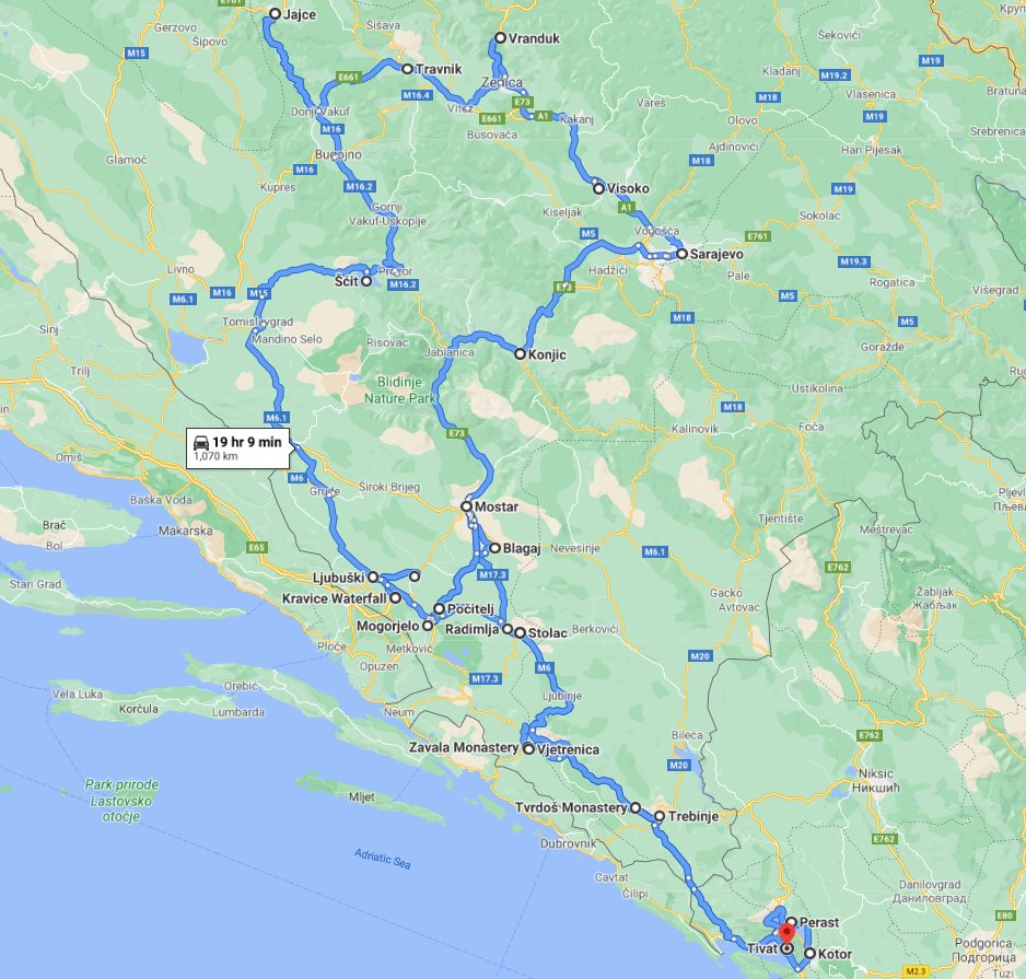 Tour map for All seasons 12 days tour over Bosnia from Tivat. Minivan private tour by Monterrasol Travel. Explore the best in Bosnia and UNESCO town Kotor in Montenegro.