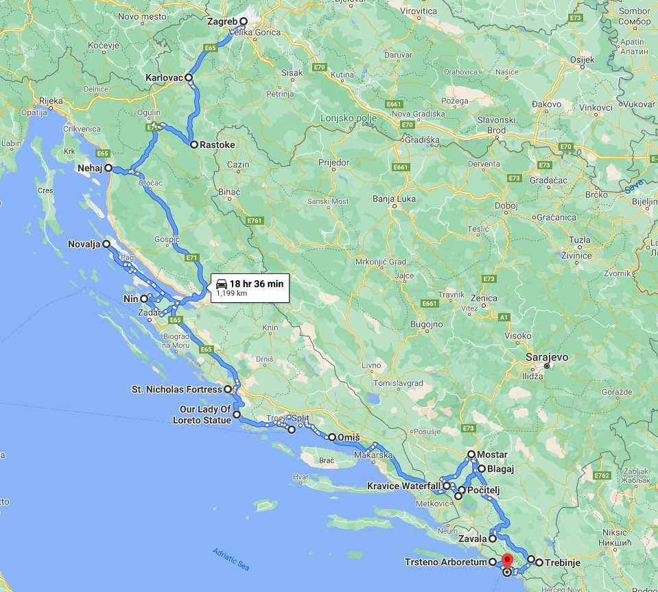 Tour map for #240 Croatia + Bosnia all seasons discovery 10 days tour from Zagreb to Dubrovnik. Monterrasol Travel private tour by car. More nature, less cities. Scenic roads of Dalmatian Rivera.