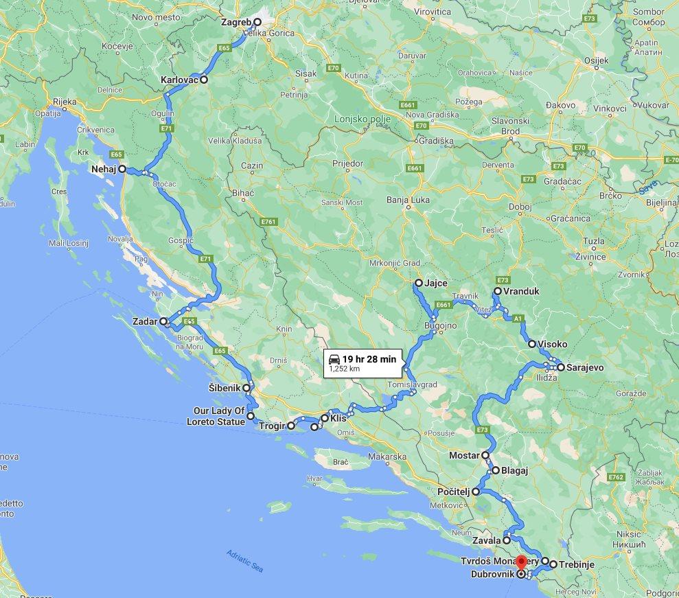 Tour map for #248 All seasons 12 days exploring Croatia + Bosnia tour from Zagreb to Dubrovnik. Monterrasol Travel car private tour. Scenic roads of Dalmatian Rivera and medieval Bosnia.
