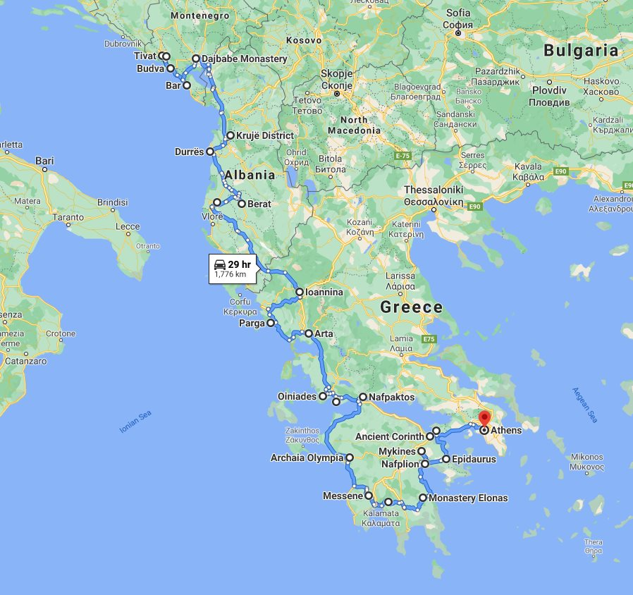 Tour map for #253 Mediterranian explorer: Montenegro Albania Greece in 25 days tour from Tivat. Private tour in minivan from Monterrasol Travel. Southern Balkans all seasons grand tour with UNESCO sites, fortresses, monasteries.