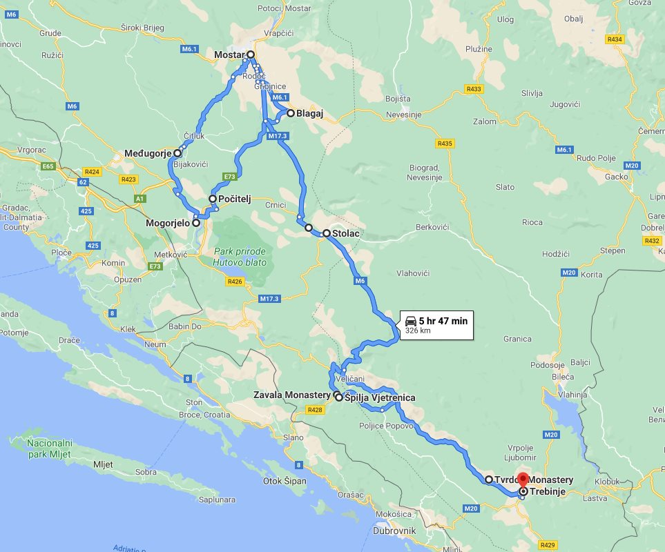 Tour map for #262 All seasons Bosnia discovery 3 days tour from Trebinje. Monterrasol Travel private tour with minivan. Bosnia UNESCO town Mostar and Blagaj, Pocitelj, Vjetrenica, Zavala, Medjugorje, Stolac.