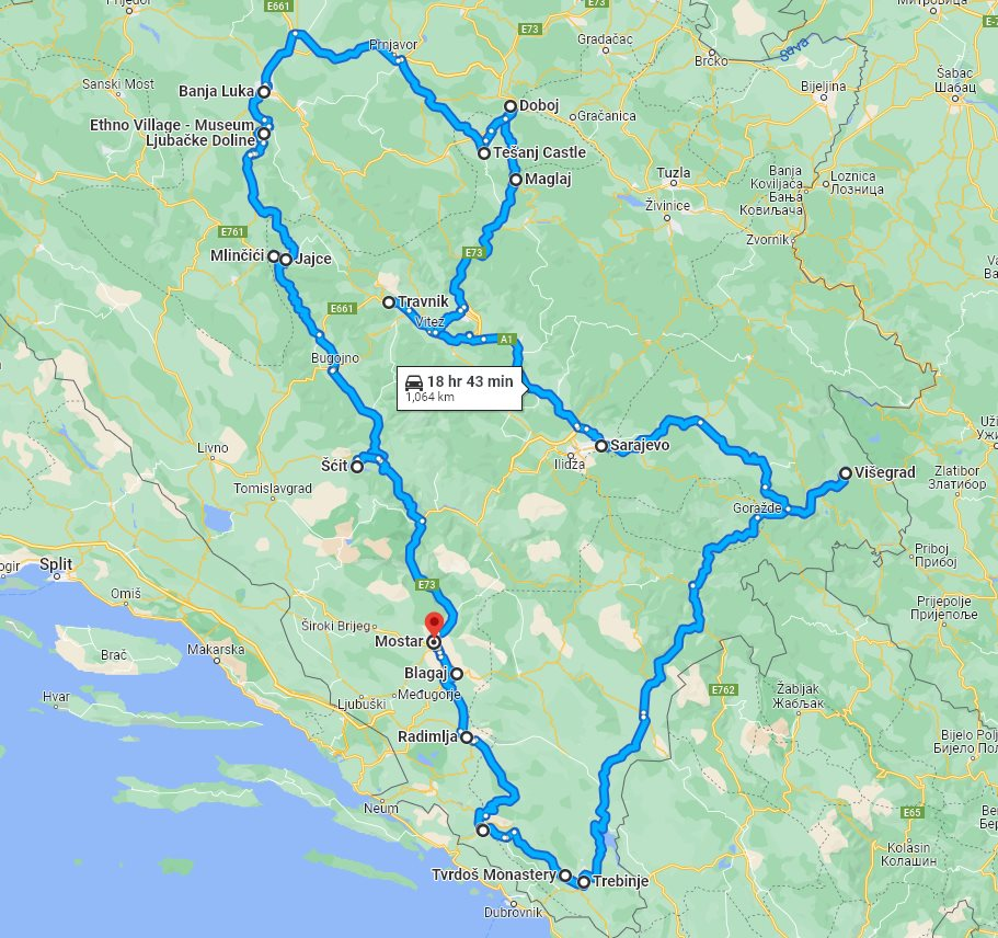 Tour map for All seasons 6 days Bosnia exploring tour from Mostar. Monterrasol Travel private tour by car. Medieval land of Bosnia: nature, scenic roads, old towns and monasteries.