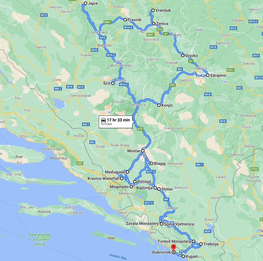 Tour map for Main attractions of Bosnia in 8 days tour from Dubrovnik. Monterrasol Travel private tour in minivan. All seasons Bosnia discovery tour. Old towns, fortresses, waterfalls, monasteries, cave.