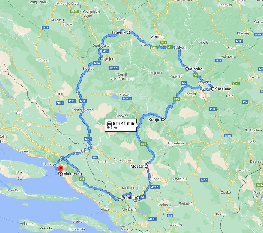 Tour map for #273 All seasons 3 days Bosnia mini tour from Makarska. Private tour in minivan from Monterrasol Travel. Pocitelj, Mostar, Sarajevo, Bosnian Pyramids, Travnik.