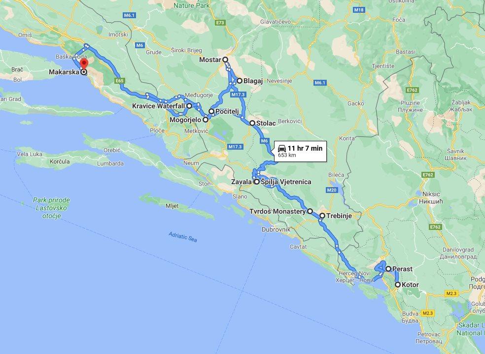 Tour map for #278 All seasons Bosnia 4 days mini tour with Montenegro towns Kotor and Perast from Makarska. Minivan private tour by Monterrasol Travel. Kravice waterfalls, Mostar, Blagaj, Pocitelj, Vjetrenica cave, Tvrdos, Trebinje.