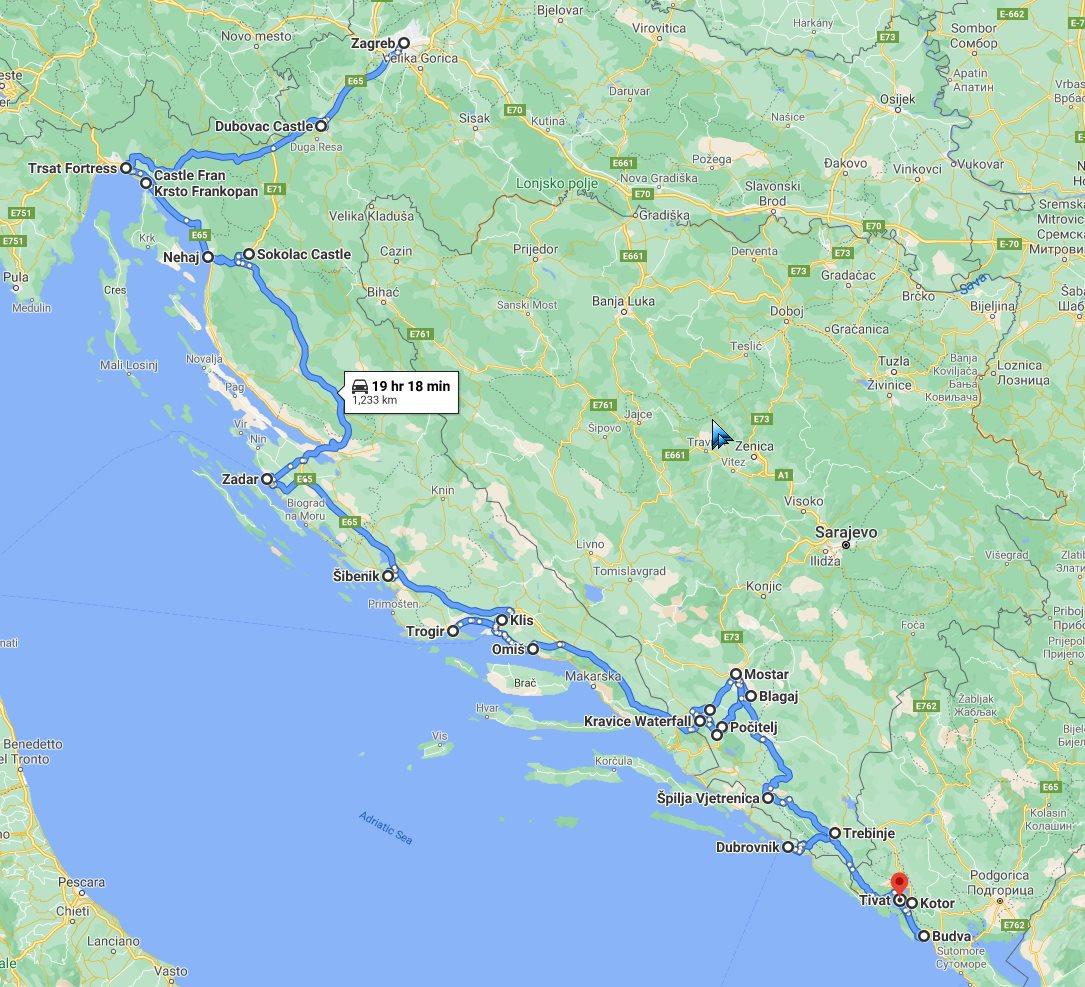 Tour map for #279 All seasons Balkans road trip 15 days via Croatia Bosnia Montenegro from Zagreb. Monterrasol Travel minivan private tour. Balkans Adriatic coast discovery tour via 3 countries.
