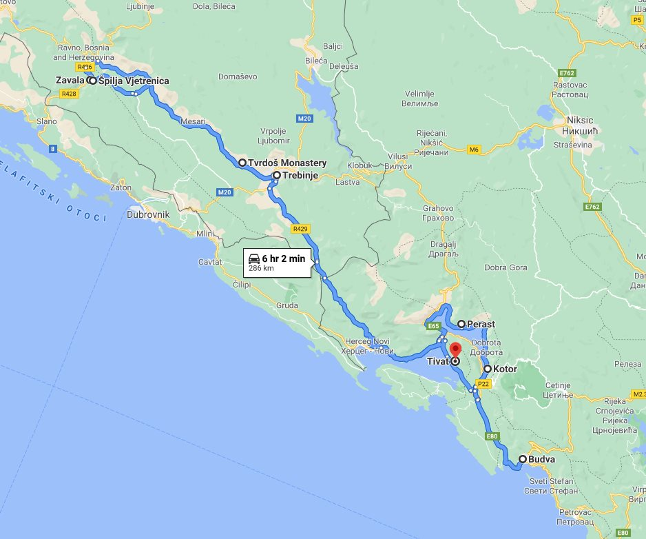 Tour map for #283 Montenegro+Bosnia all seasons discovery 3 days mini tour from Tivat. Private tour in minivan from Monterrasol Travel. Visit Kotor, Budva, Perast, Trebinje, Tvrdos, Vjetrenica.