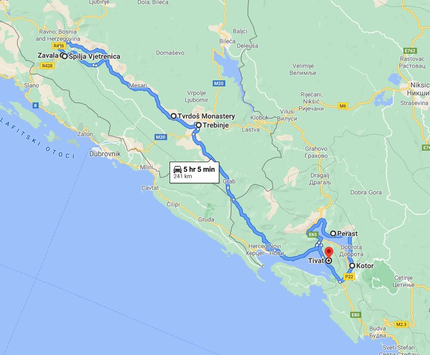 Tour map for #284 All seasons Montenegro+Bosnia discovery 2 days micro tour from Tivat. Private tour in minivan from Monterrasol Travel. Visit Kotor, Perast, Trebinje, Tvrdos, Vjetrenica, Zavala.