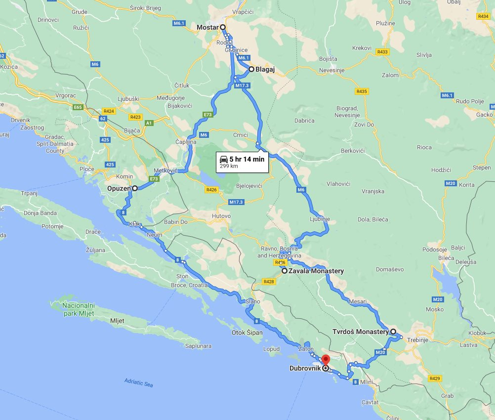 Tour map for #288 Day trip from Dubrovnik to see Mostar and Blagaj. Private tour in minivan from Monterrasol Travel. Enjoy wine tasting in Tvrdos monastery, see Blagaj and walk in Mostar.
