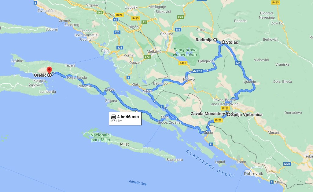 Tour map for #291 Day trip from Korcula to Vjetrenica cave and fortress Stolac. Private tour from Monterrasol Travel by car. See also Zavala monastery and archaeological site Radimlja.