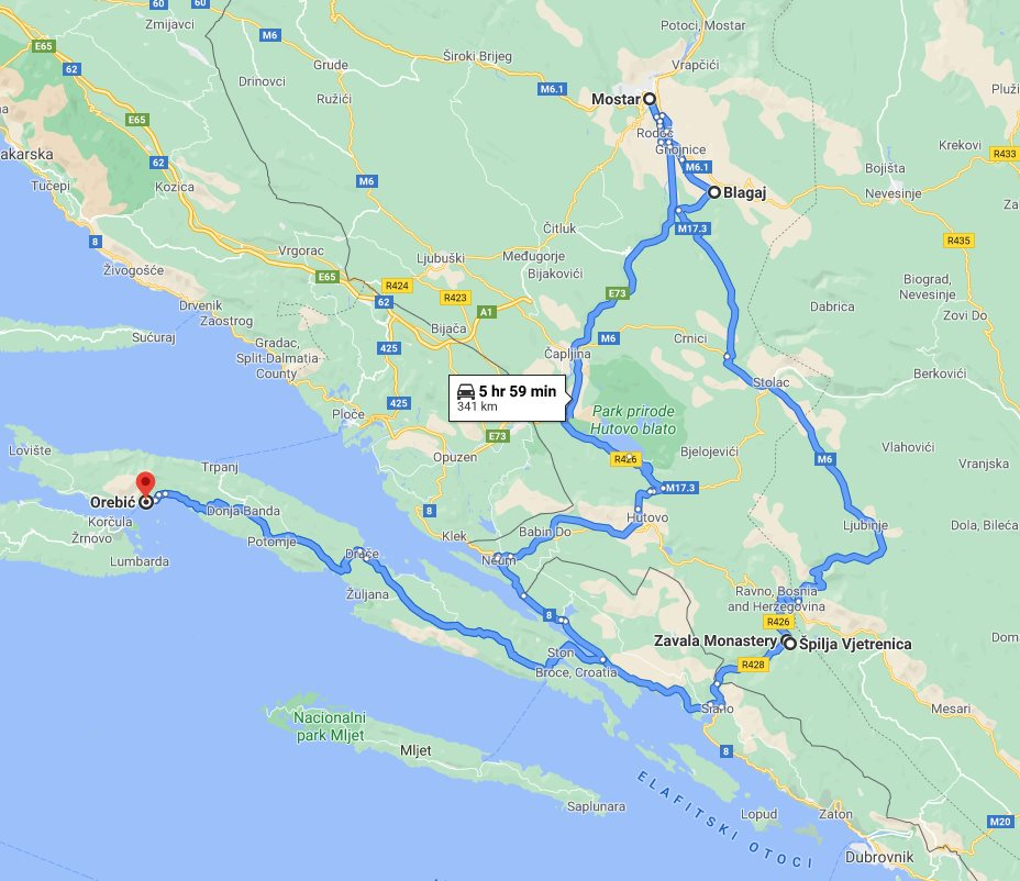 Tour map for #292 Day trip from Korcula to see Vjetrenica cave, Mostar, Blagaj. Private tour by car from Monterrasol Travel. Visit also Zavala monastery.