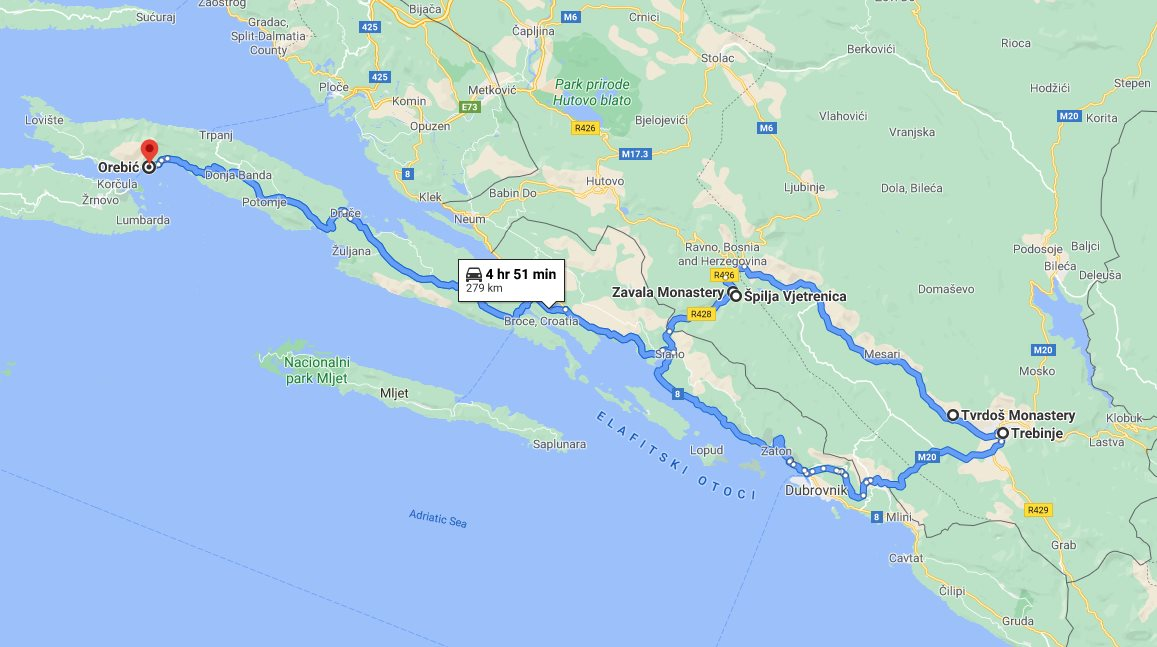 Tour map for #293 Day trip from Korcula to Vjetrenica cave with wine tasting in Tvrdos monastery. Private car tour by Monterrasol Travel. See also Zavala monastery and Trebinje.