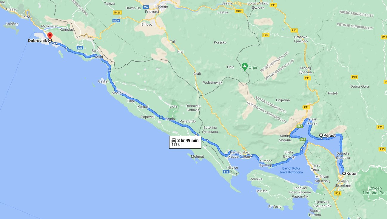 Tour map for #294 Day trip from Dubrovnik to see Kotor and Perast. Monterrasol Travel private tour by minivan. Visit in Montenegro the Kotor UNESCO Venetian town and charming Perast.