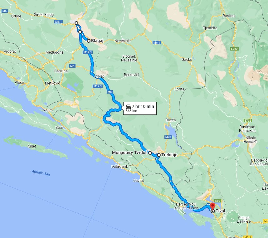 Tour map for #296 Day trip from Tivat to Mostar and Blagaj. Private car tour by Monterrasol Travel. Visit also Zavala monastery and enjoy wine tasting in Trebinje.