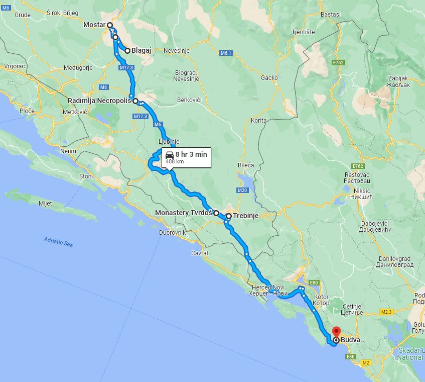 Tour map for #298 Day trip from Budva to Mostar and Blagaj. Private car tour by Monterrasol Travel. Visit also Zavala monastery and enjoy wine tasting in Trebinje.
