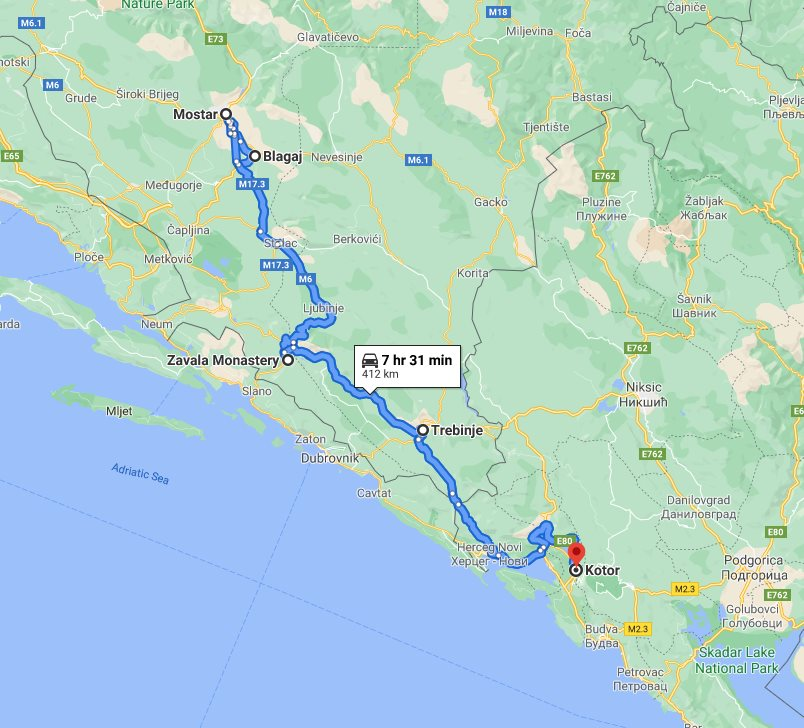Tour map for #300 Day trip from Kotor to Mostar and Blagaj. Minivan private tour by Monterrasol Travel. Visit also Zavala monastery and enjoy wine tasting in Trebinje.