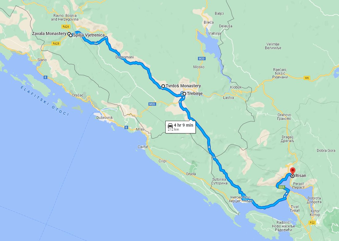 Tour map for #301 Day trip from Risan to Vjetrenica cave with wine tasting in Tvrdos monastery. Monterrasol Travel tour use private minivan. See also Zavala monastery and Trebinje.
