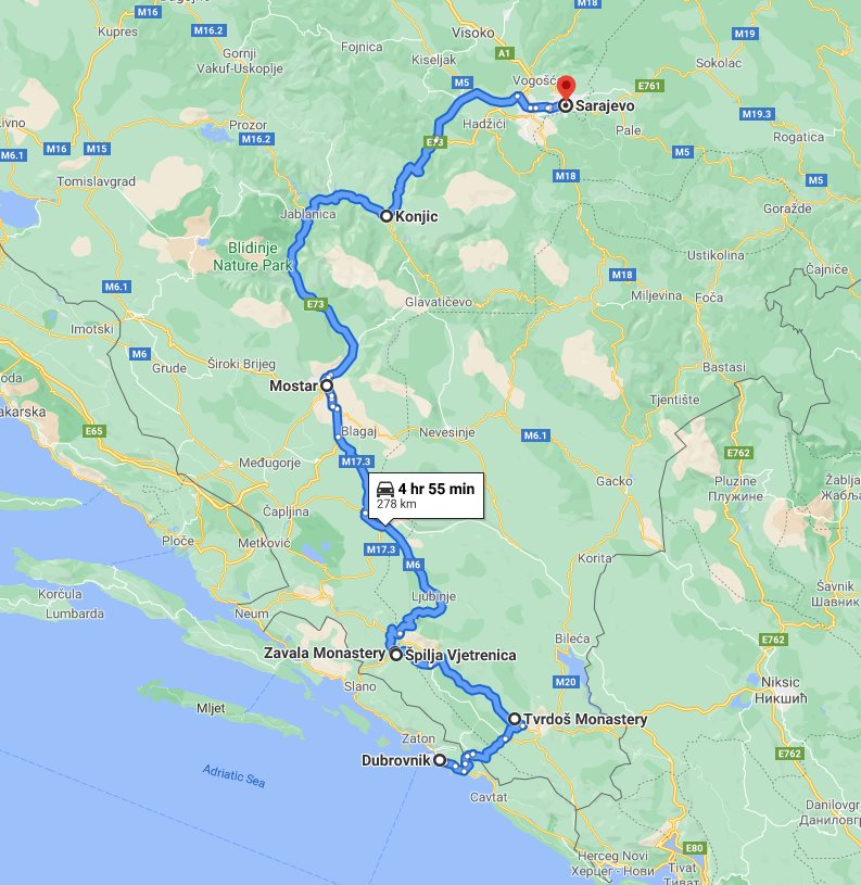 Tour map for #304 One day tour from Dubrovnik to Sarajevo via Tvrdos, Vjetrenica cave, and UNESCO Mostar. Monterrasol Travel private car tour. See also Zavala monastery and Konjic bridge.